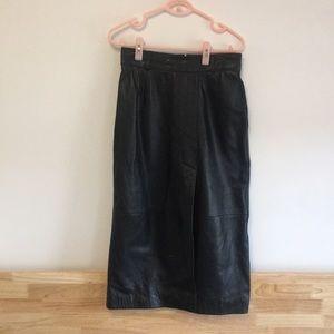 Cute midi leather skirt